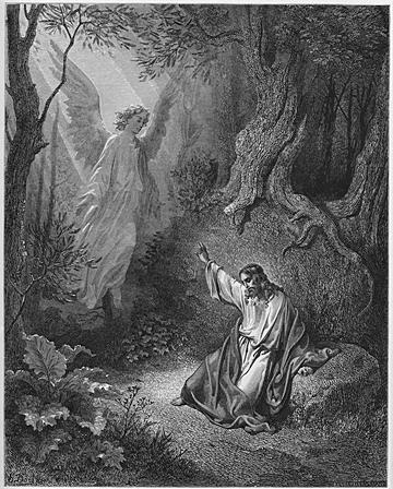 An Angel Appears to Jesus in the Garden